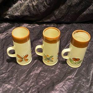 """3  tall espresso mugs/cups  5"""" tall"""